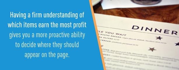 understanding menu profits